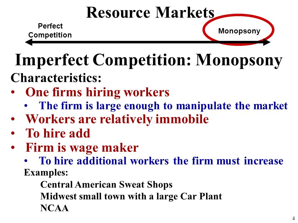 Imperfect Competition: Monopsony Characteristics: One firms hiring workers The firm is large enough to manipulate the market Workers are relatively immobile To hire add Firm is wage maker To hire additional workers the firm must increase Examples: Central American Sweat Shops Midwest small town with a large Car Plant NCAA 4 Perfect Competition Monopsony Resource Markets
