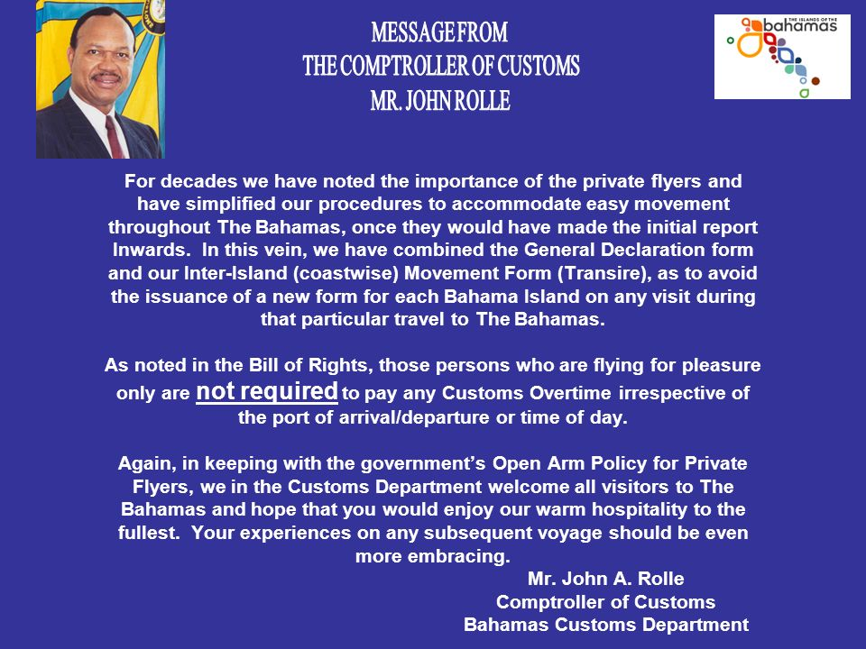 AN INVITATION FROM THE BAHAMAS MINISTRY OF TOURISM GENERAL ...