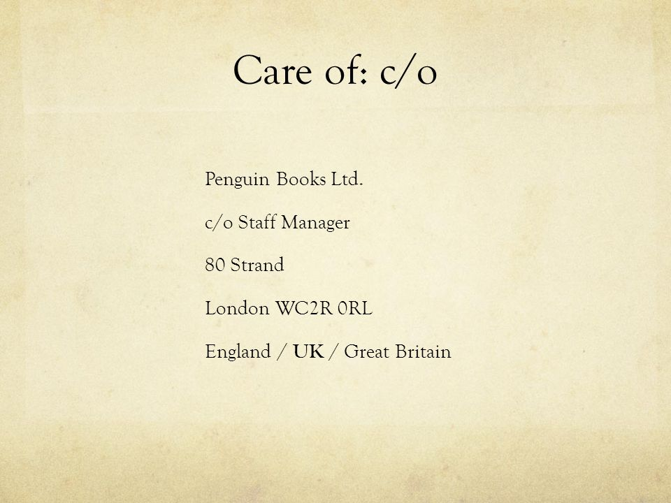 care of letter