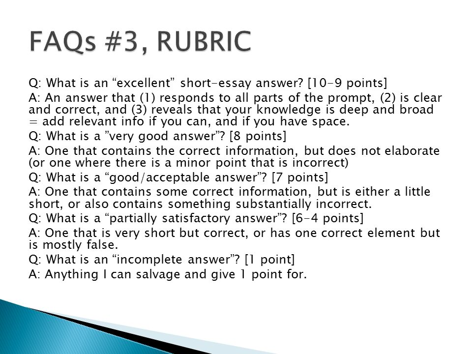 rubrics for short answer essays