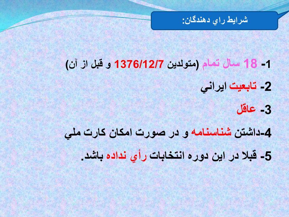 1 - 18 سال تمام ( متولدين 1376/12/7 و قبل از آن ) 2- تابعيت ايراني 3- عاقل 4- داشتن شناسنامه و در صورت امكان كارت ملي 5- قبلا در اين دوره انتخابات رأي نداده باشد.