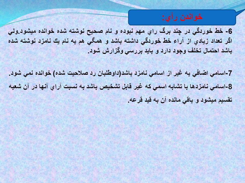 6- خط خوردگي در چند برگ راي مهم نبوده و نام صحيح نوشته شده خوانده ميشود.