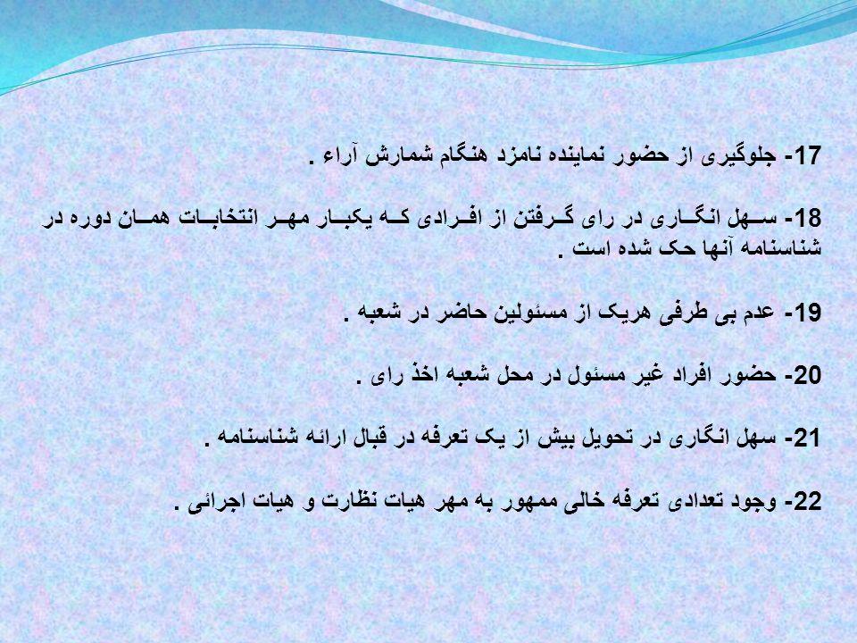 17- جلوگیری از حضور نماینده نامزد هنگام شمارش آراء.