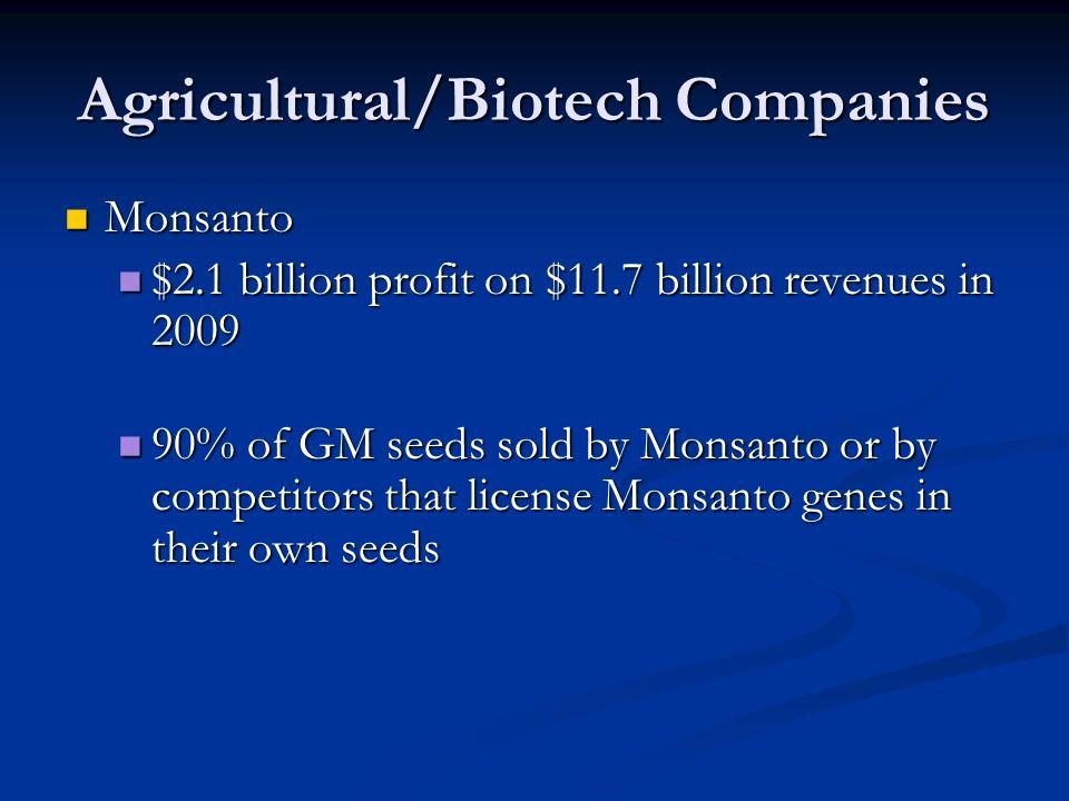 Agricultural/Biotech Companies Monsanto Monsanto $2.1 billion profit on $11.7 billion revenues in 2009 $2.1 billion profit on $11.7 billion revenues in 2009 90% of GM seeds sold by Monsanto or by competitors that license Monsanto genes in their own seeds 90% of GM seeds sold by Monsanto or by competitors that license Monsanto genes in their own seeds