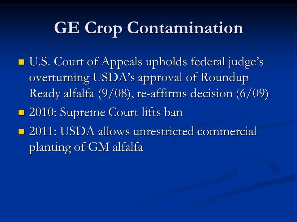GE Crop Contamination U.S.