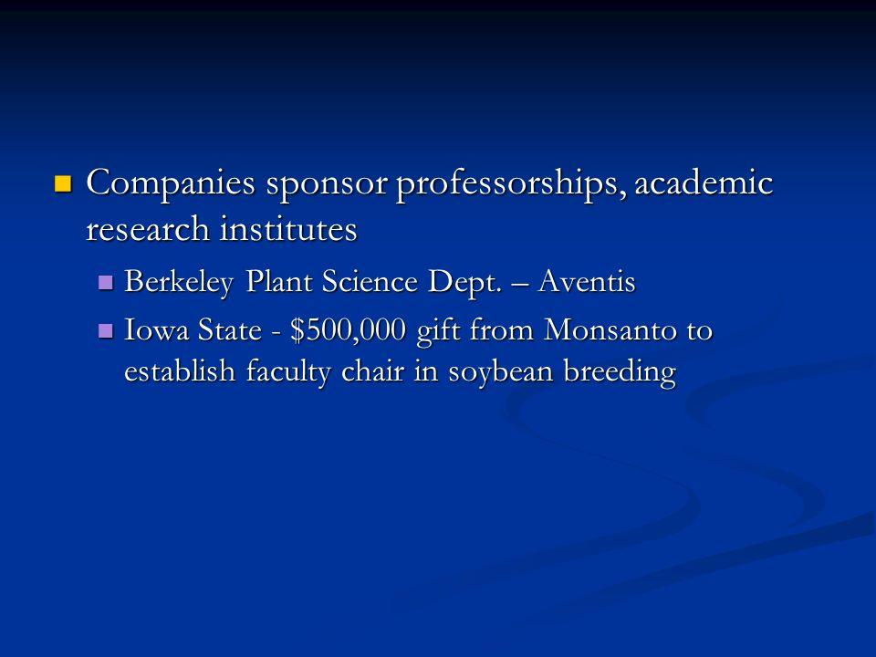 Companies sponsor professorships, academic research institutes Companies sponsor professorships, academic research institutes Berkeley Plant Science Dept.