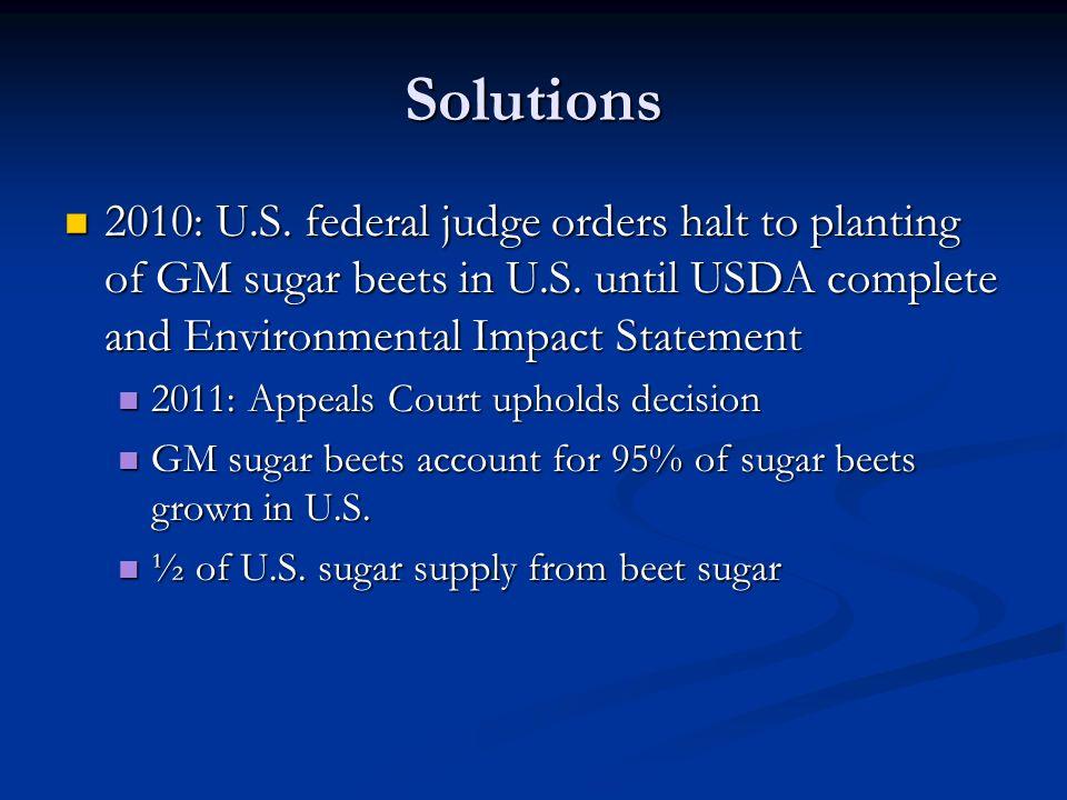 Solutions 2010: U.S. federal judge orders halt to planting of GM sugar beets in U.S.