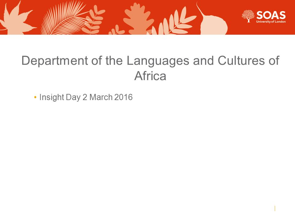 Department of the Languages and Cultures of Africa Insight Day 2 March 2016