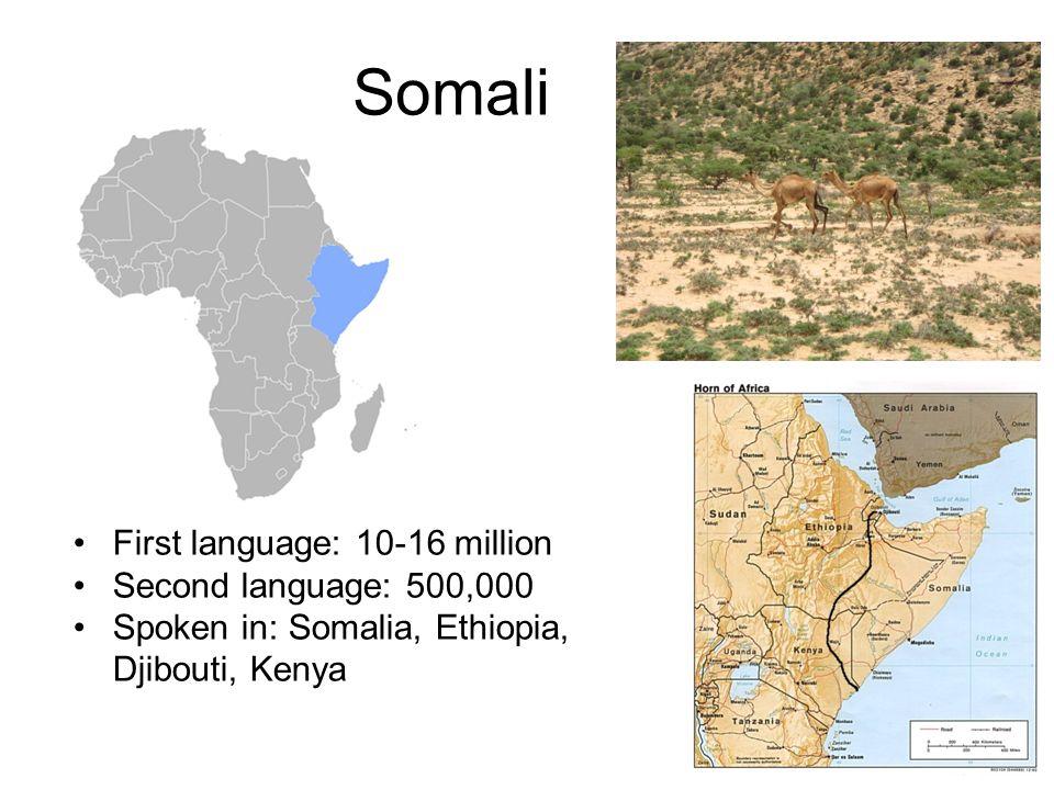 Somali First language: 10-16 million Second language: 500,000 Spoken in: Somalia, Ethiopia, Djibouti, Kenya
