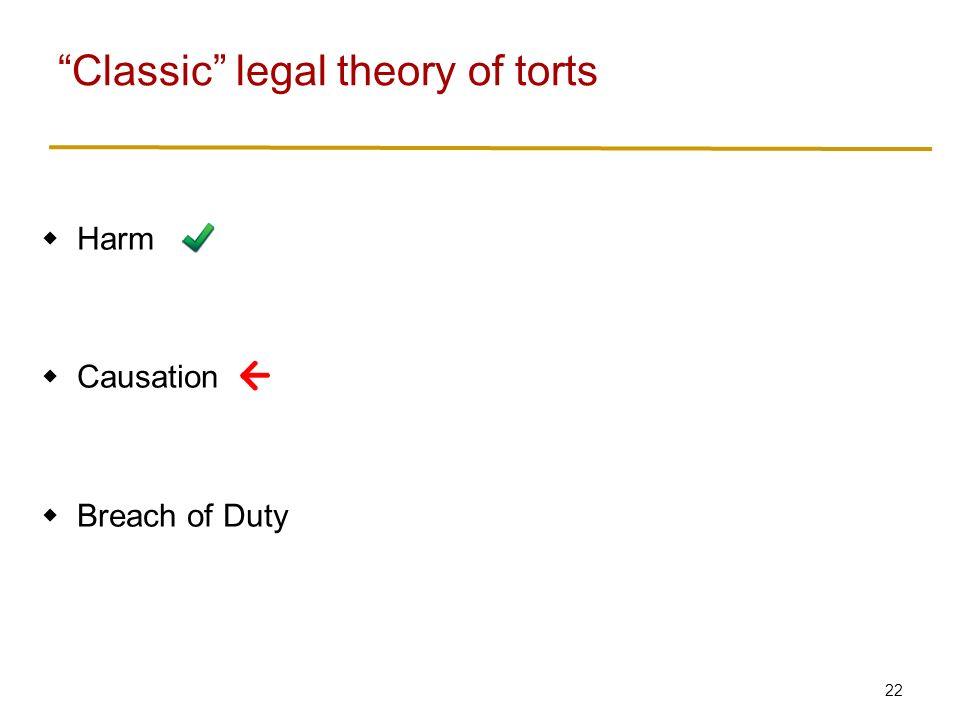 22  Harm  Causation  Breach of Duty Classic legal theory of torts
