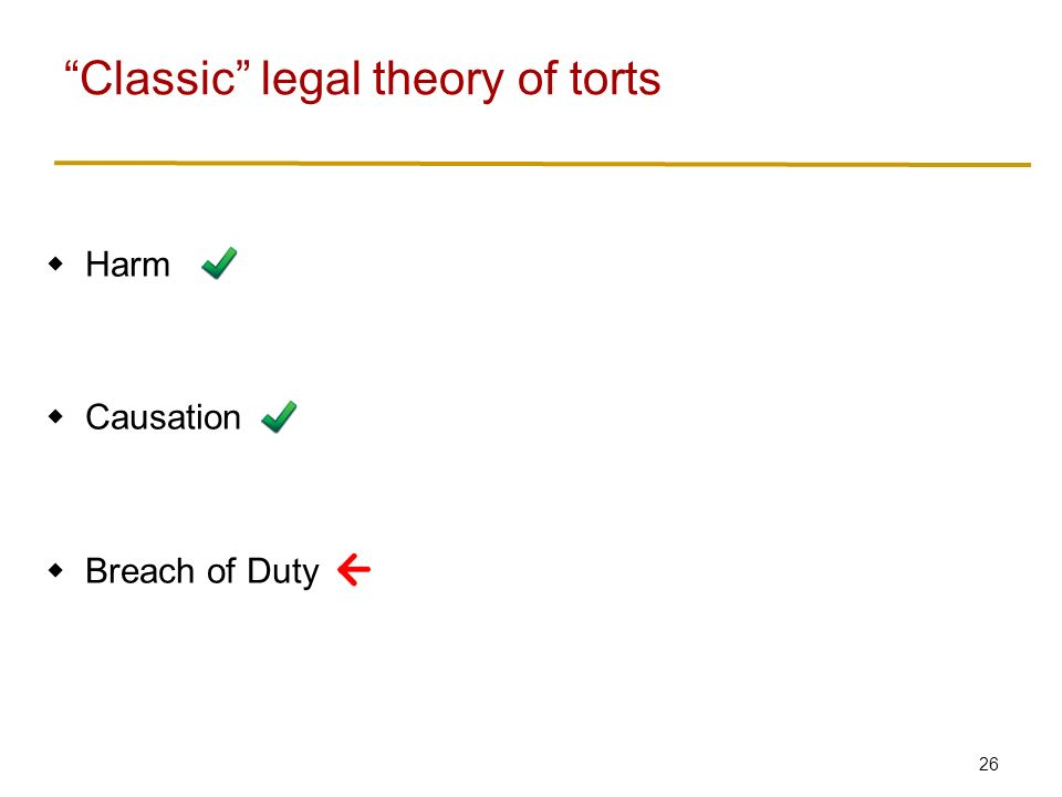 26  Harm  Causation  Breach of Duty Classic legal theory of torts