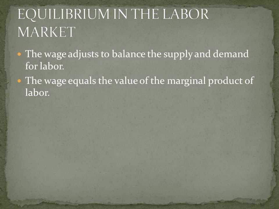 The wage adjusts to balance the supply and demand for labor.
