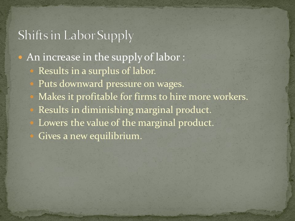An increase in the supply of labor : Results in a surplus of labor.