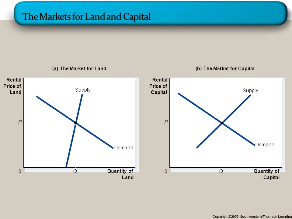 Copyright©2003 Southwestern/Thomson Learning Quantity of Land 0 Rental Price of Land Demand Supply Demand Supply Quantity of Capital 0 Rental Price of Capital Q P (a) The Market for Land(b) The Market for Capital P Q