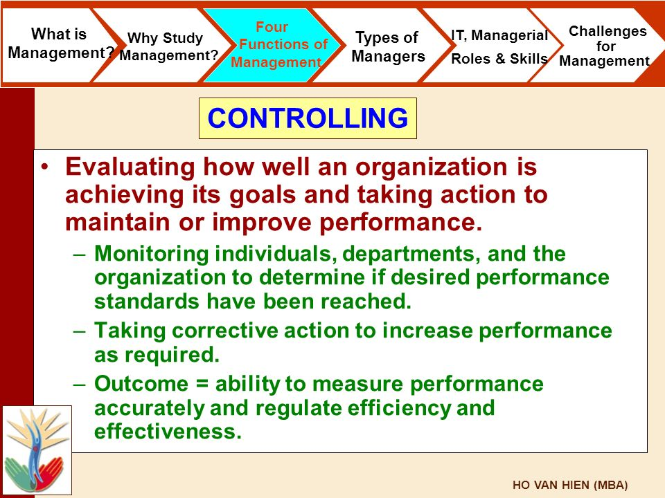 HO VAN HIEN (MBA) Evaluating how well an organization is achieving its goals and taking action to maintain or improve performance. –Monitoring individ