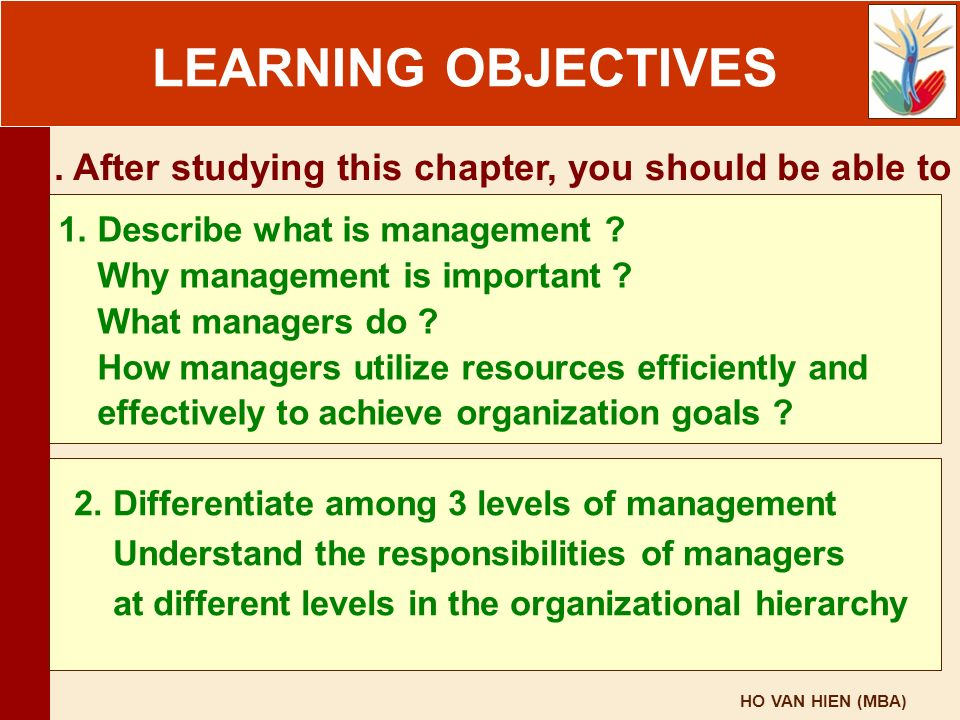 HO VAN HIEN (MBA) LEARNING OBJECTIVES. After studying this chapter, you should be able to 1. Describe what is management ? Why management is important