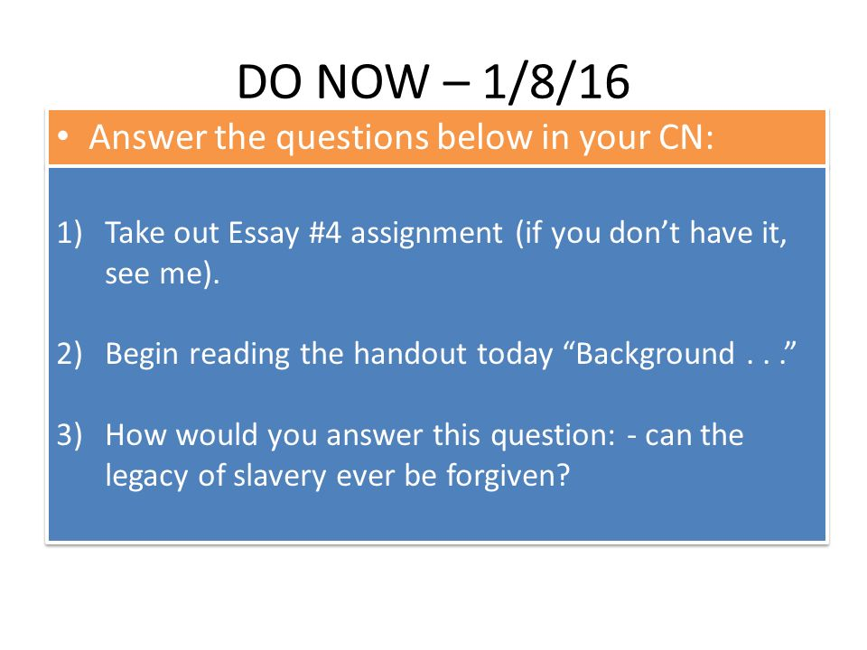 essay question on slavery Slavery in america essay examples 65 total results an essay on slavery in america 1,373 the question of whether historians overemphasized slavery as a cause of.