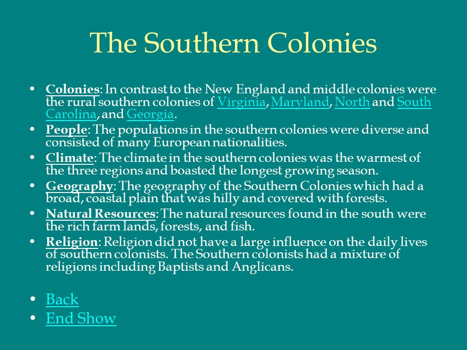 The southern colonies colonies in contrast to the new england 1 the sciox Gallery
