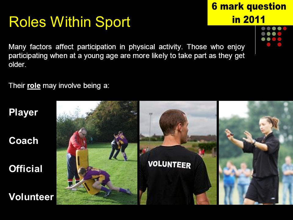 Roles Within Sport Many factors affect participation in physical activity.
