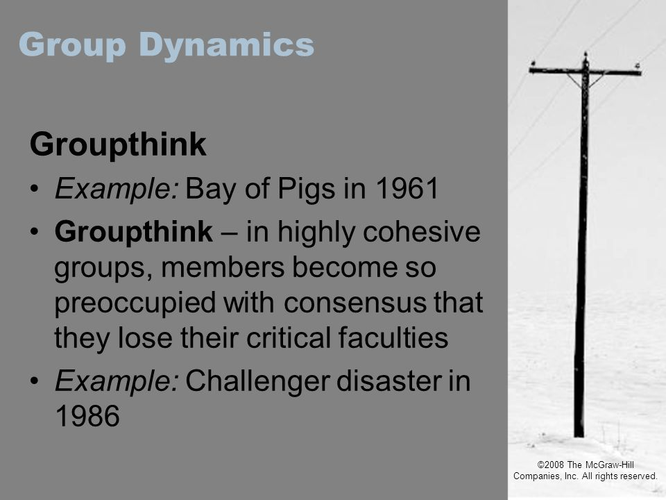 ©2008 The McGraw-Hill Companies, Inc. All rights reserved. Groupthink Example: Bay of Pigs in 1961 Groupthink – in highly cohesive groups, members bec