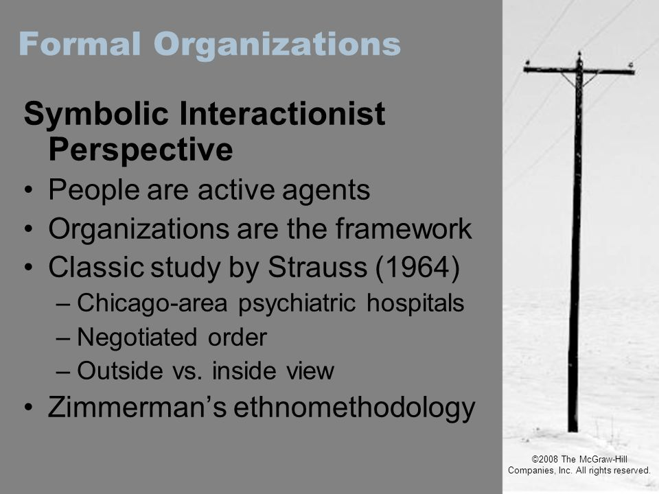 ©2008 The McGraw-Hill Companies, Inc. All rights reserved. Symbolic Interactionist Perspective People are active agents Organizations are the framewor