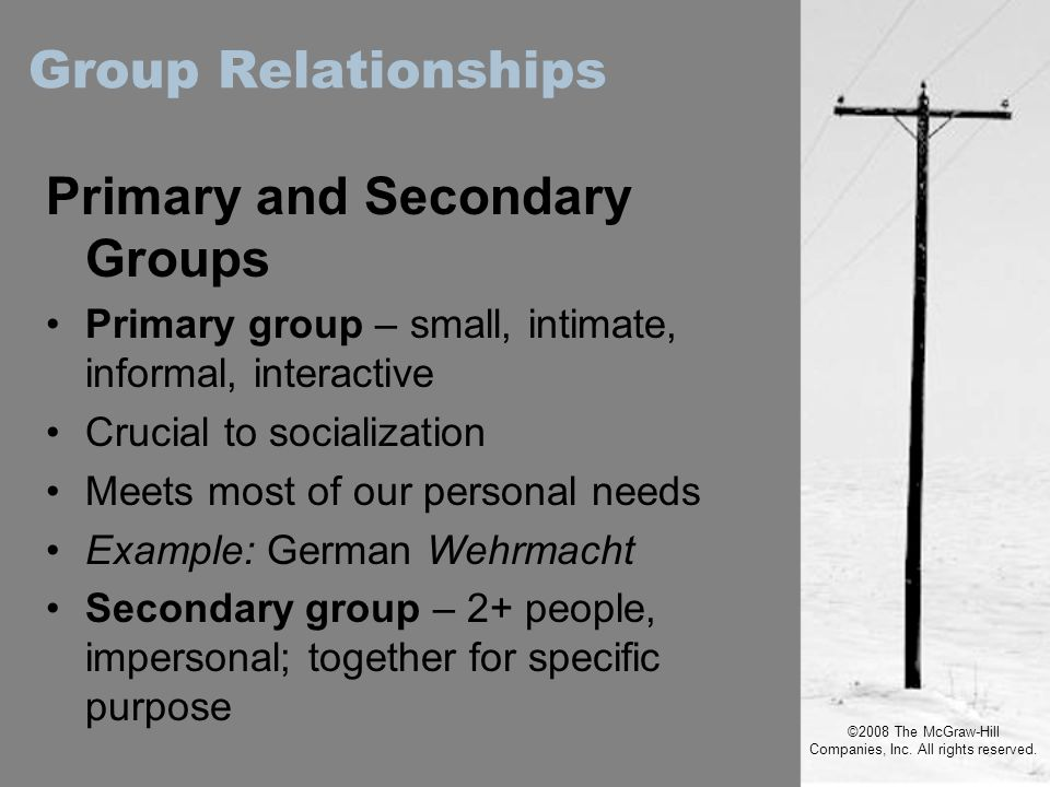 ©2008 The McGraw-Hill Companies, Inc. All rights reserved. Primary and Secondary Groups Primary group – small, intimate, informal, interactive Crucial