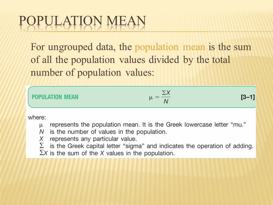 characteristics of a population for which a mean median mode would be Free essays on what are the characteristics of a population for which it would be appropriate to use mean/median/mode when would the characteristics of a population make them inappropriate to use for students.