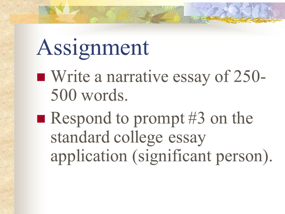 write 500 word narrative essay