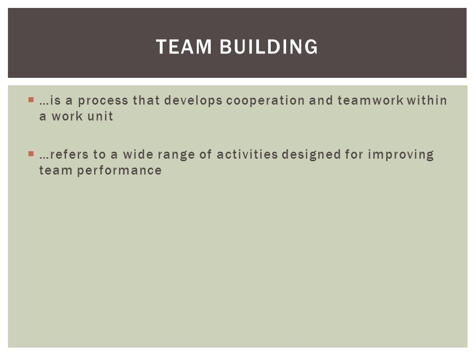  …is a process that develops cooperation and teamwork within a work unit  …refers to a wide range of activities designed for improving team performance TEAM BUILDING