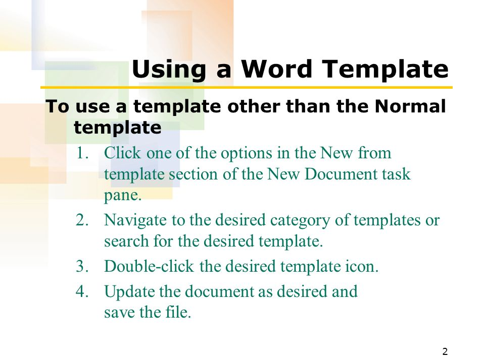 1 after completing this lesson, you will be able to: use a word, Presentation templates