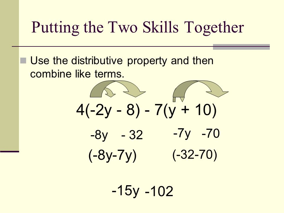 Distributive property and combining like terms worksheet doc