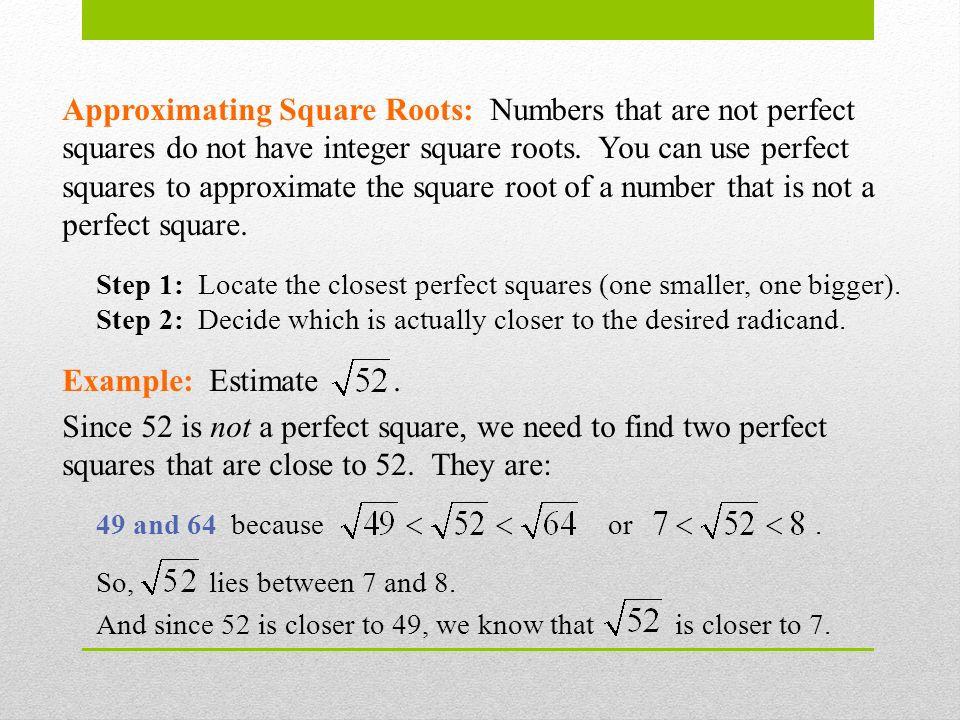 Approximating Roots Units 1.12 & Approximating Square Roots ...