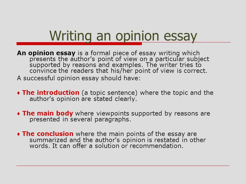 opinion essay example