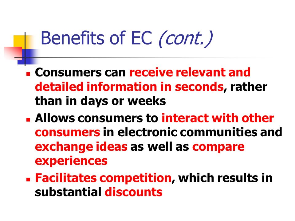 Benefits of EC (cont.) Consumers can receive relevant and detailed information in seconds, rather than in days or weeks Allows consumers to interact with other consumers in electronic communities and exchange ideas as well as compare experiences Facilitates competition, which results in substantial discounts