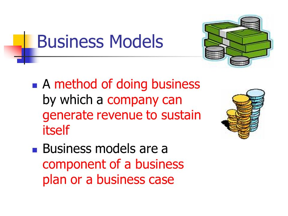 Structure of Business Models Transaction fees Subscription fees Advertisement fees partner fees Sales Other models All business models must specify their revenue model (the description of how the company or an EC project will earn revenue) Revenue sources are: