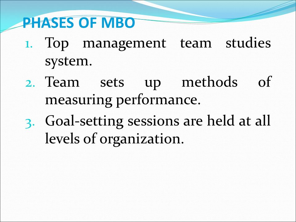 PHASES OF MBO 1. Top management team studies system.