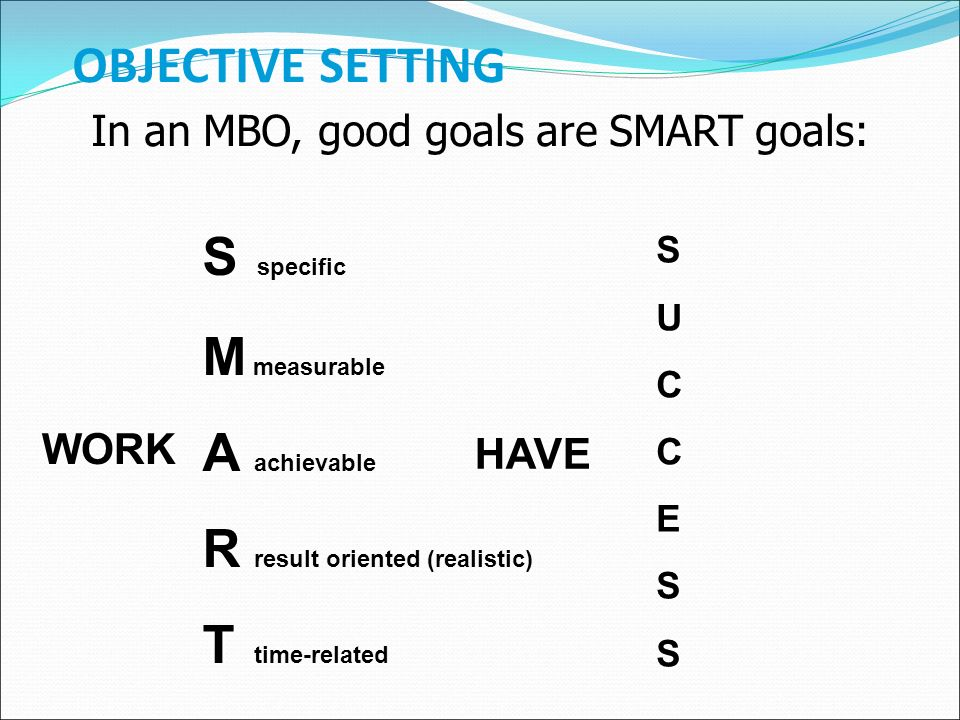 OBJECTIVE SETTING S S specific M M measurable A A achievable R R result oriented (realistic) T T time-related WORK HAVESUCCESS In an MBO, good goals are SMART goals: