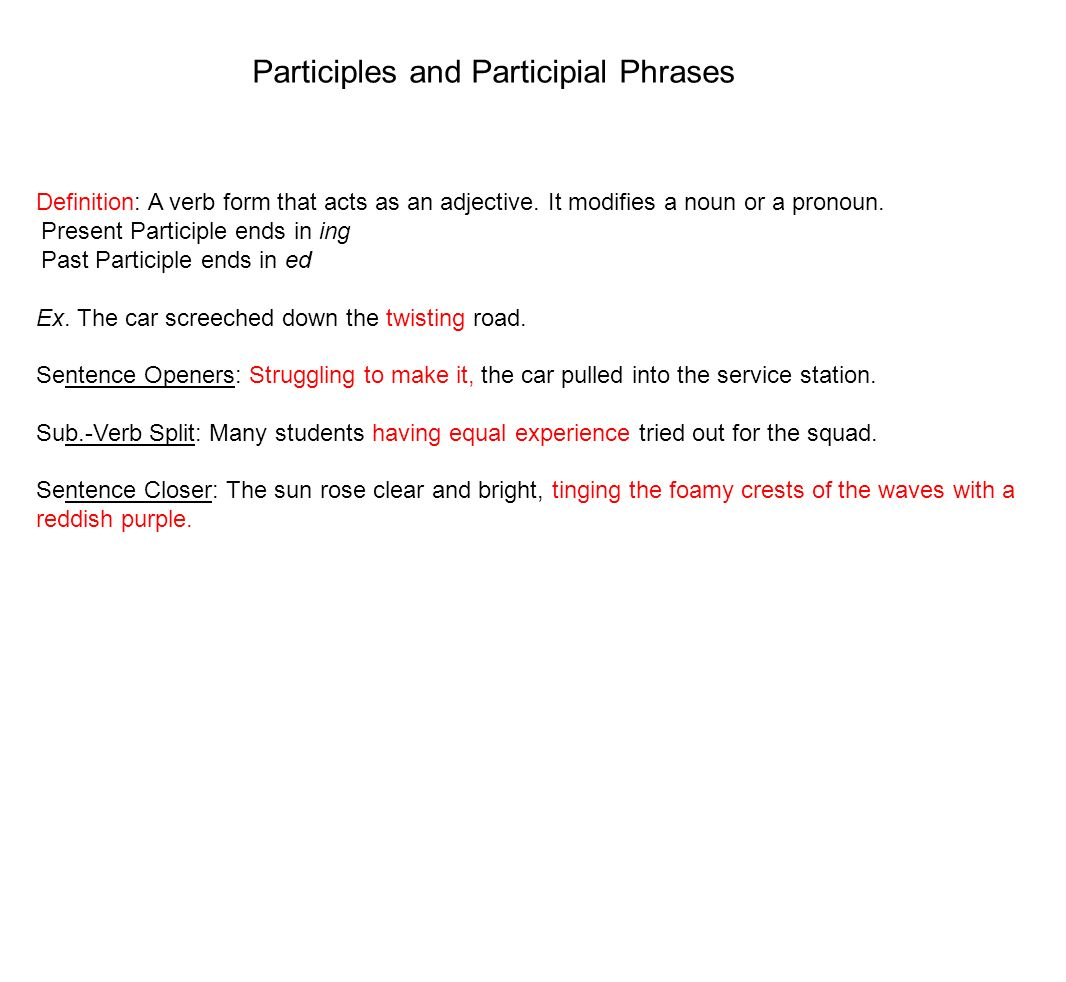 Phrases Definition: a group of words not containing a verb and its ...