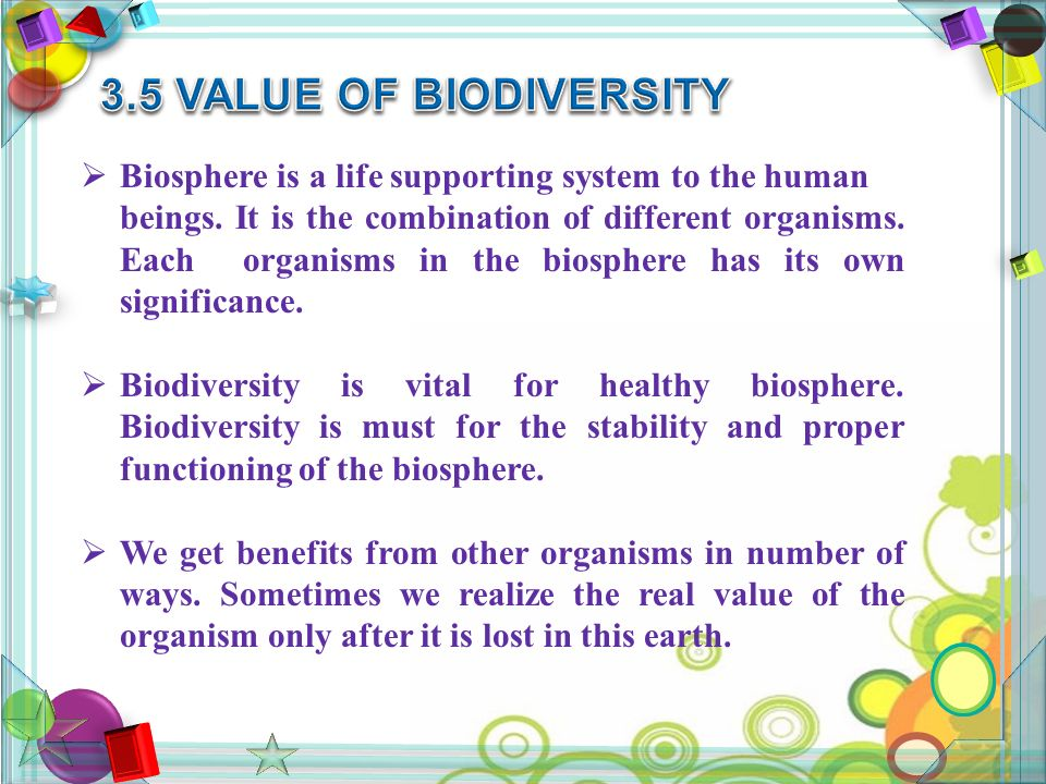  Biosphere is a life supporting system to the human beings.