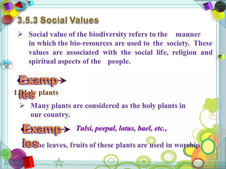  Social value of the biodiversity refers to the manner in which the bio-resources are used to the society.