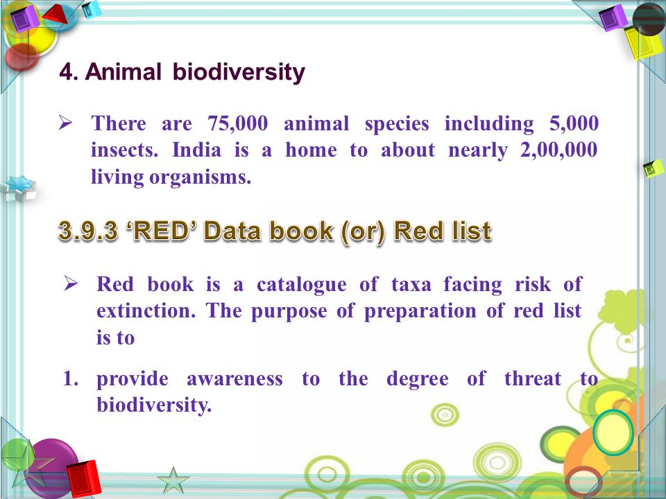4. Animal biodiversity  There are 75,000 animal species including 5,000 insects.