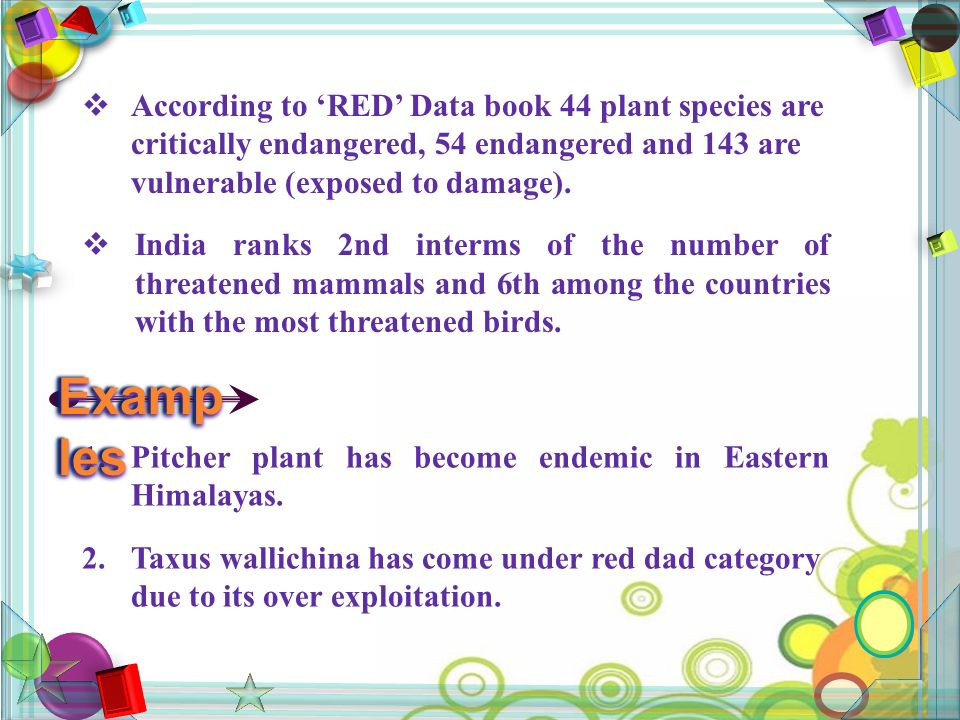  According to 'RED' Data book 44 plant species are critically endangered, 54 endangered and 143 are vulnerable (exposed to damage).
