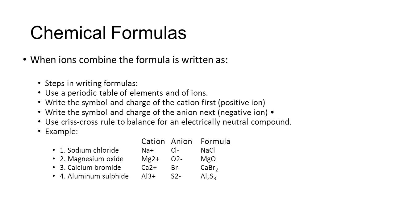 Chemistry overview physical science unit 6 changes there are two chemical formulas when ions combine the formula is written as steps in writing formulas buycottarizona Choice Image