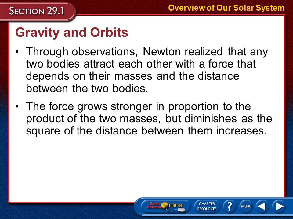 Early Ideas Kepler's Second and Third Laws Overview of Our Solar System –In 1684, English scientist Isaac Newton published a mathematical and physical explanation of the motions of celestial bodies.