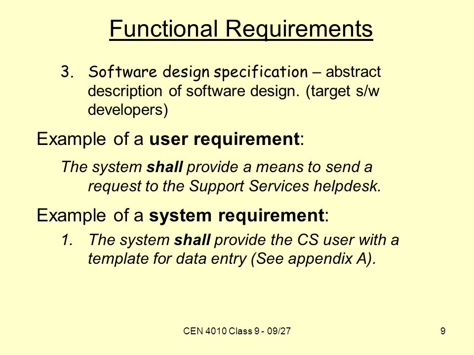 Requirement elicitation review class 8 functional requirements cen 4010 class 9 09279 functional requirements 3ftware design specification pronofoot35fo Choice Image