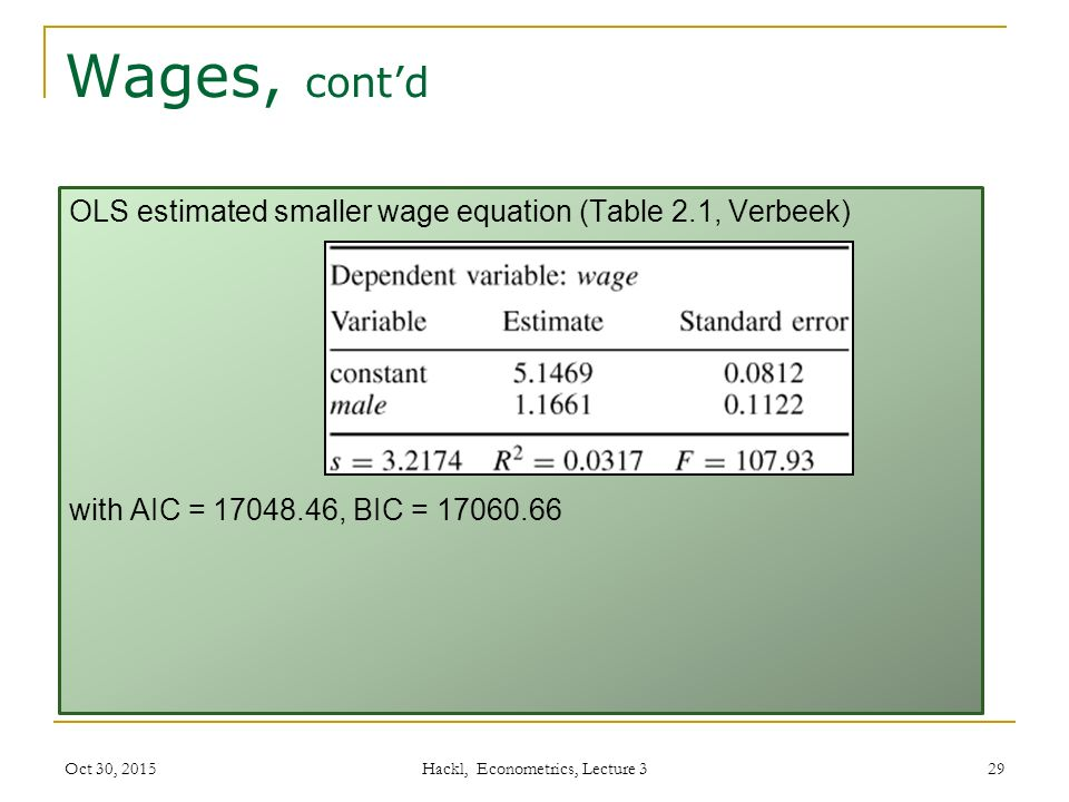 Wages, cont'd OLS estimated smaller wage equation (Table 2.1, Verbeek) with AIC = 17048.46, BIC = 17060.66 Oct 30, 2015 Hackl, Econometrics, Lecture 3 29