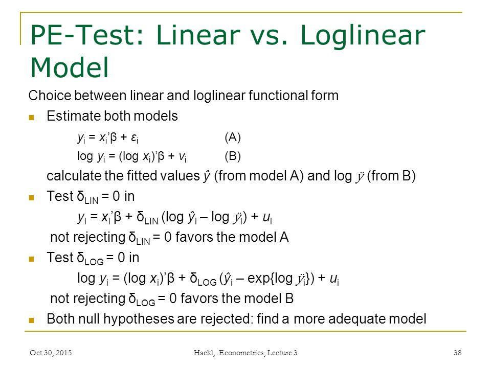 PE-Test: Linear vs.