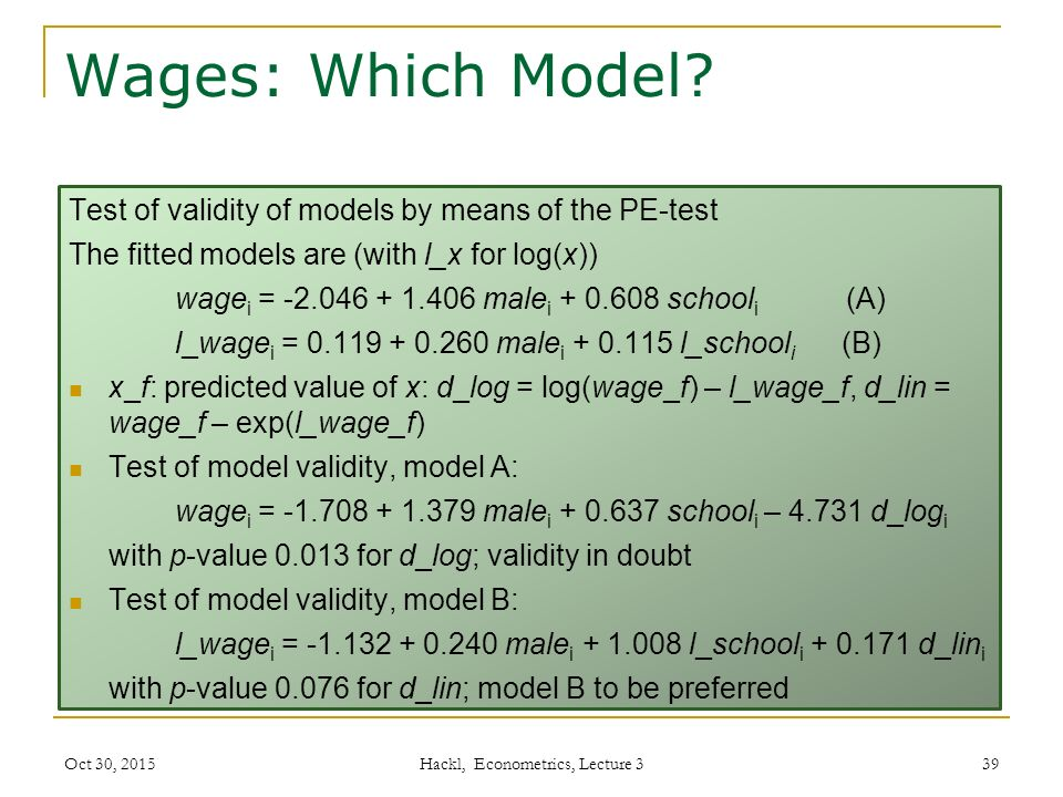 Wages: Which Model.