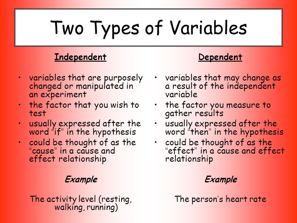 the independent and dependent types of variables and the experimental and non experimental approach  Chapter 1 - variables and research design has observed in a dependent variable as a result of manipulating the independent variable may not be due to.
