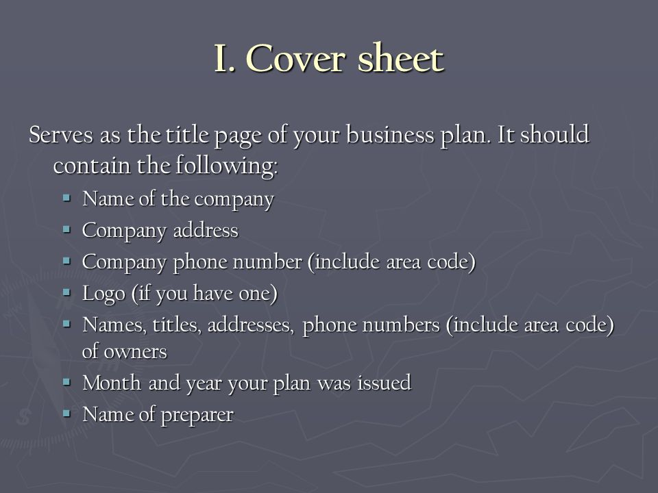 Cover Page Of Business Plan